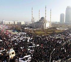 Митинг за исламские ценности в городе Грозный