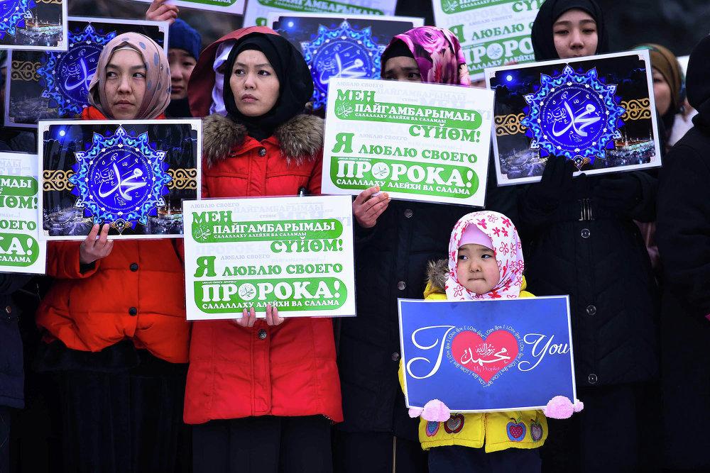 Митинг мусульман против публикаций в СМИ карикатур на пророка Мухаммеда