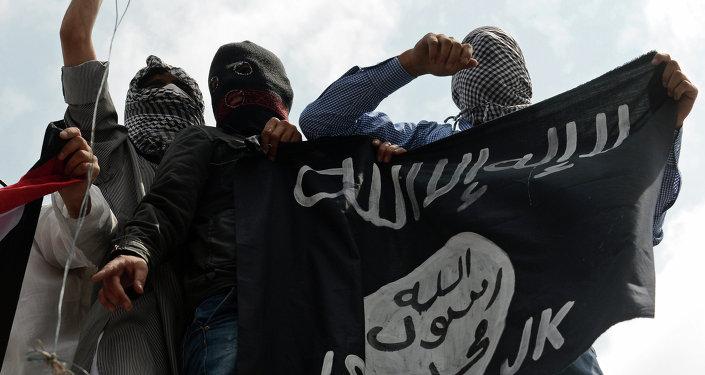 Демонстранты держат флаг Исламского государства Ирак и Левант (ISIL) во время демонстрации против военной операции Израиля в секторе Газа
