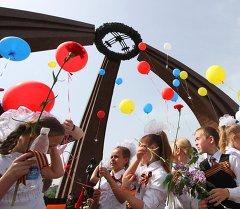 Большую георгиевскую ленту пронесли по центру Бишкека