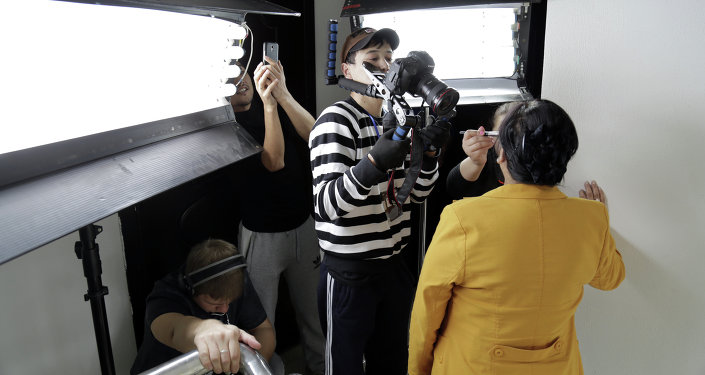 Рабочий процесс съемки фильма Биртууганчик.