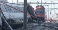 Два пассажирских поезда столкнулись в Швейцарии. Кадры с места ЧП