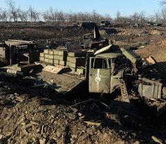 Разрушенный укрепрайон украинских силовиков на окраине города Дебальцево