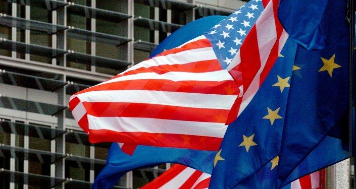 АКШнын жана Евросоюздун желектери. Архив