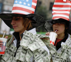 Акция против покупки долларов в России. Архивное фото