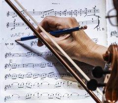 Музыкант оркестра во время репетиций. Архивное фото