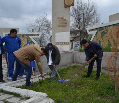 Ноокендин Арал айылында Улуу Жеңишти утурлай сакура тигилди.