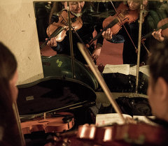 Скрипачи оркестра выступают на концерте. Архивное фото