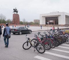 Пункт проката велосипедов на центральной площади столицы