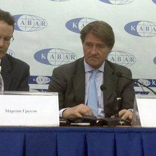Кандидат в совет директоров Centerra Gold Inc. Лорд Падрик Кланвильям и Мартин Грехэм на пресс-конференци