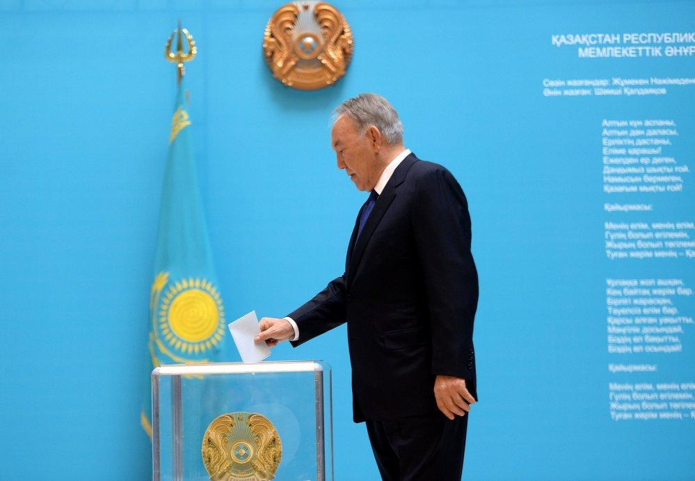 Казакстандын азыркы президенти Нурсултан Назарбаев жекшемби күнү мөөнөтүнөн мурда болгон президенттик шайлоодо шайлоочулардын 97,36 пайыз добушун алды.