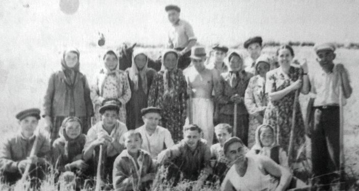 Первые сельхозработы после войны, поселок Каджи-Сай.