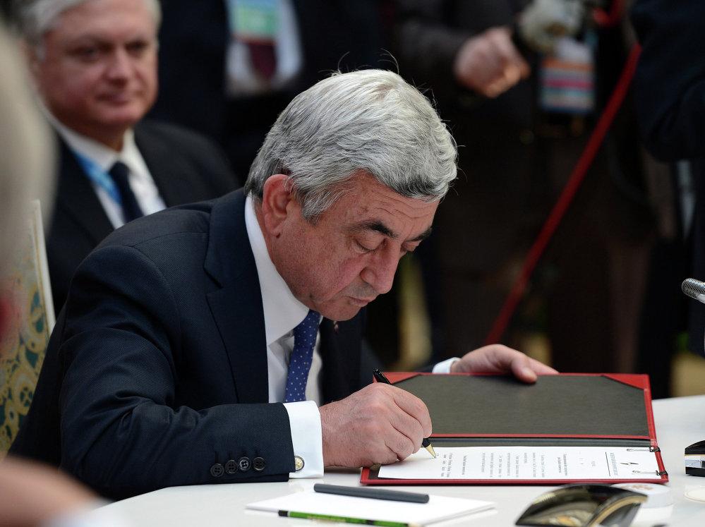 Армения президенти Серж Саргсян саммитте ЕАЭБдин аймагын Иран менен кеңейтүү сунушун киргизди.