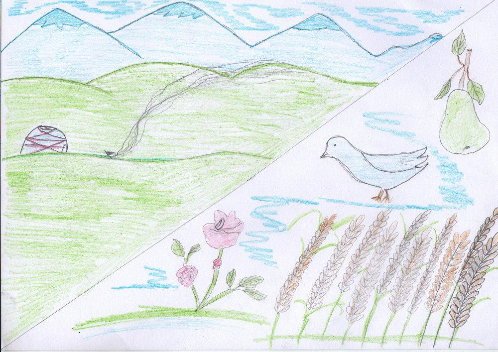 Олицетворение образа мамы с красотой роз, сладостью фруктов, высотой гор и щедростью земли.