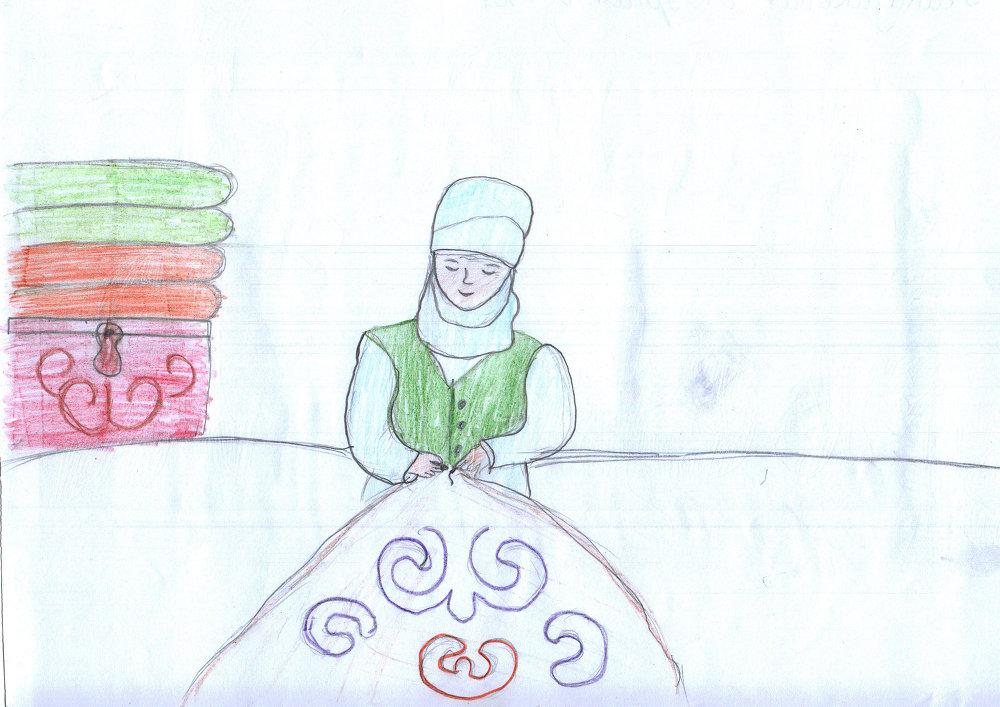 Головной убор ак элечек — символ кыргызских матерей.