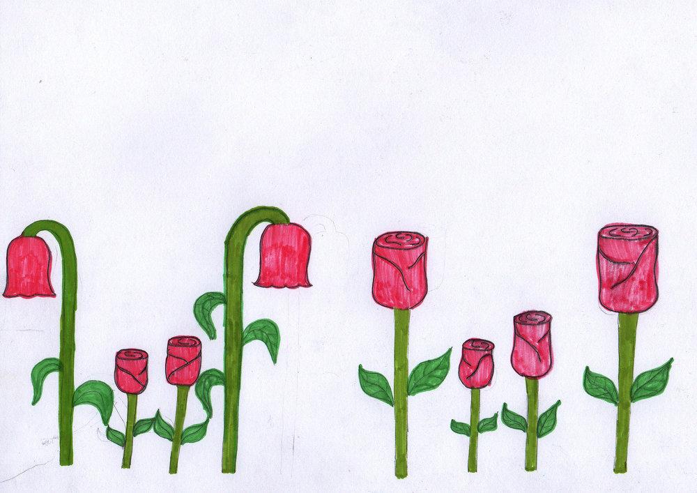 Цветущие розы — это счастливые семьи, а завядшие цветы — мои родители, которых нет рядом со мной и сестрой.