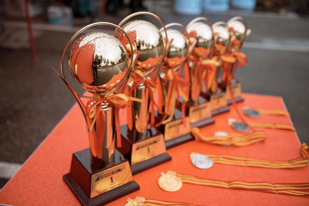 Медали и кубки для участников, занявших призовые места.