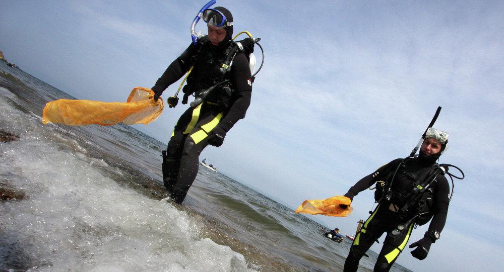 Дайверы Приморья проводят уборку дна бухты Федорова. Архивное фото