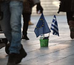 Греция жана Европа биримдигинин желеги. Архив