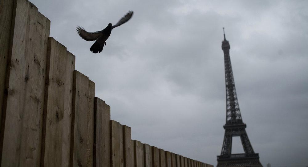 Вид на Эйфелеву башню с площади Трокадеро в Париже. Архивное фото