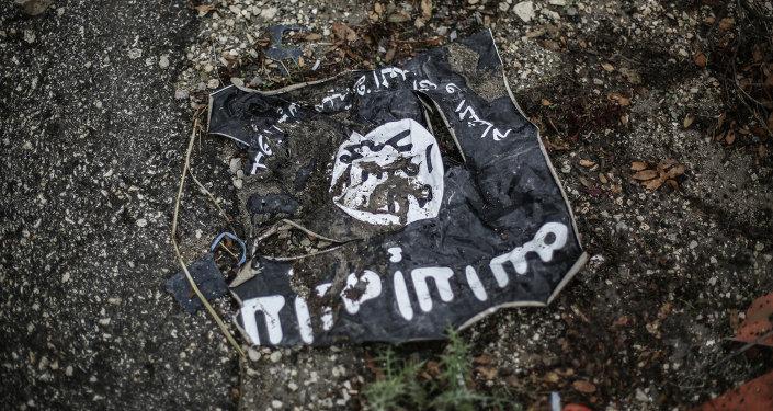 Ислам мамлекети (ИМ) террордук тобунун желеги. Архивдик сүрөт