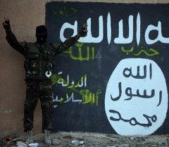Член экстремистской организации Исламского государства возле флага. Архивное фото
