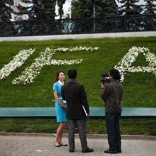 Журналисты в Международном пресс-центре, открытом для освещения мероприятий саммитов ШОС и БРИКС в Уфе. Архивное фото