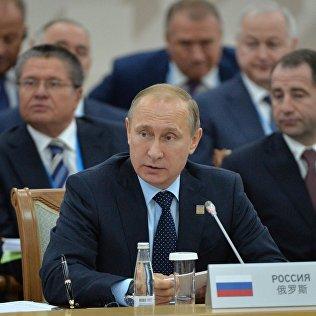 Президент Российской Федерации Владимир Путин на заседании Совета глав государств-членов ШОС. Архивное фото