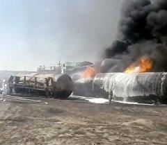 Вагоны с ГСМ сгорели в Актюбинской области. Кадры с места ЧП
