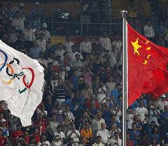 Олимпиада жана Кытайдын желектери. Архив