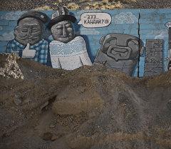 Боом капчыгайындагы бетон дубалдарга тартылган сүрөт. Архив