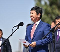 Премьер-министр Кыргызстана Темир Сариев на церемонии открытия границы в рамках присоединения Кыргызстана к ЕАЭС на КПП Ак-Жол.