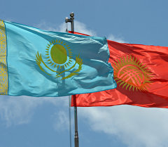 Кыргызстан жана Казакстандын желектери. Архив