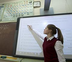 Ученица средней школы на уроке химии. Архивное фото