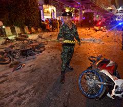 На месте мощного взрыва в Бангкоке. Архивное фото
