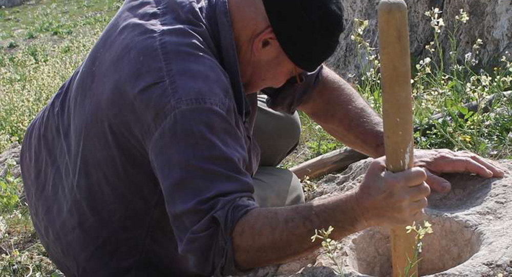 Ученые перемалывают зерно при помощи древней ступы. Архивное фото