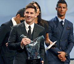 Аргентинский нападающий каталонской Барселоны Лионель Месси на вручении лучшего игрока Европы сезона 2014-2015 года.
