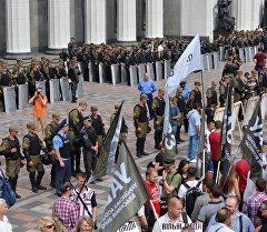 Участники протестной акции у здания Верховной рады Украины в Киеве.