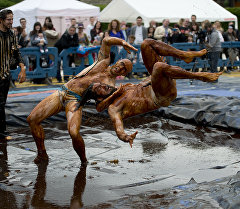Международный чемпионат по борьбе в мясной подливке в Северо-Западной Англии