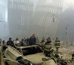 Американын Нью-Йорк шаарында 2001-жылдын 11-сентябрындагы болгон ири теракттын кесепети. Архив