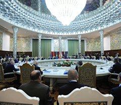 Заседание очередной сессии Совета коллективной безопасности Организации Договора о коллективной безопасности (ОДКБ) в широком составе во Дворце Наций в Душанбе.