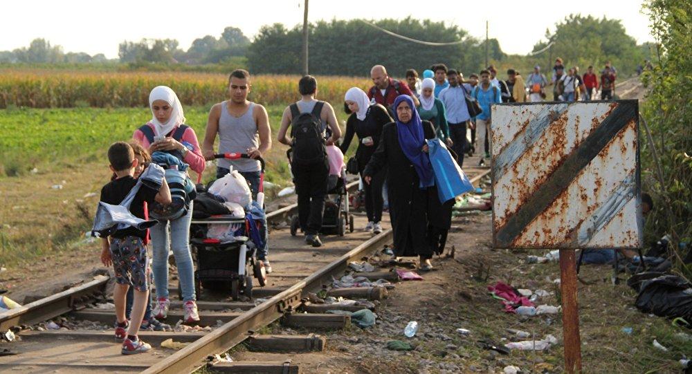 Беженцы, не успевшие пересечь границу до ее закрытия, идут по железнодорожным путям у сербско-венгерской границы в районе поселка Реске.