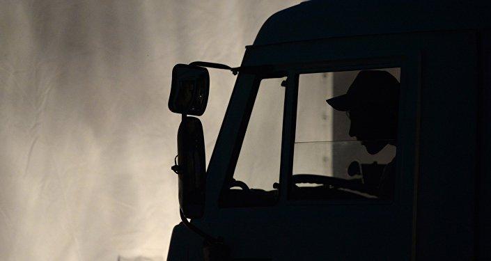 Жүк ташуучу автоунаанын айдоочусу. Архивдик сүрөт