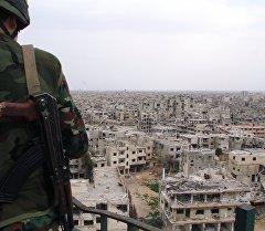 Сирия аскери Хомс шаарында. Архив