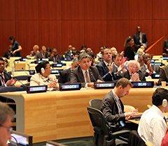 Министр иностранных дел Эрлан Абдылдаев на 70-й сессии Генеральной Ассамблеи ООН в Нью-Йорке.