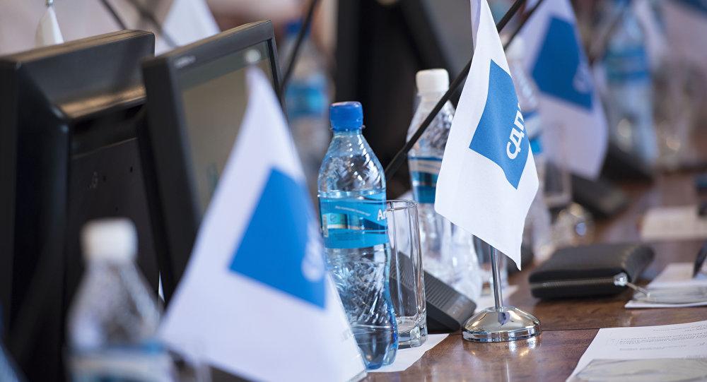 Флажок с логотипом социал-демократической партии Кыргызстана (СДПК). Архивное фото