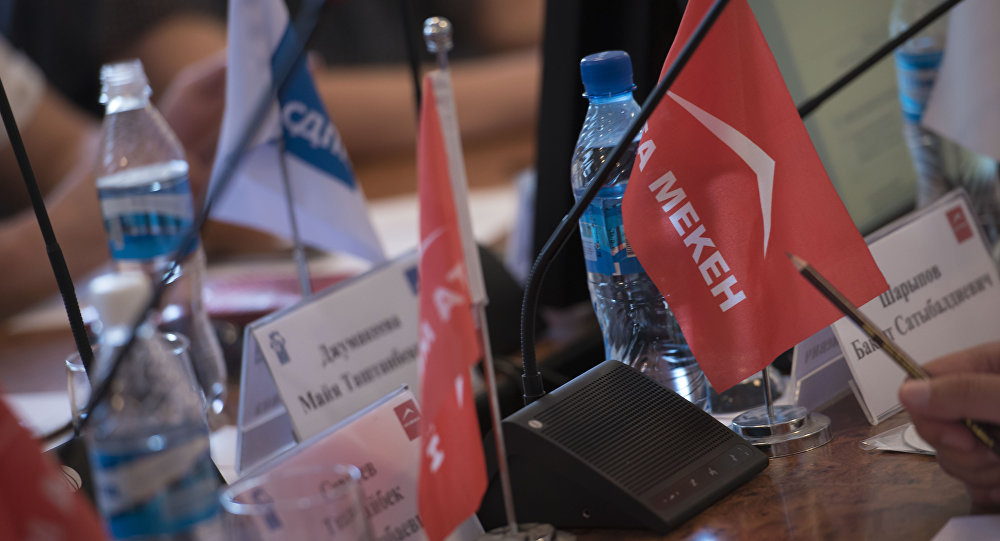 Флажок с логотипом политической партии Ата-Мекен. Архивное фото