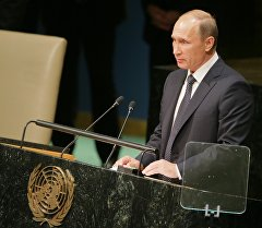 Президент России Владимир Путин во время выступления на пленарном заседании 70-й сессии Генеральной Ассамблеи ООН в Нью-Йорке. Архивное фото