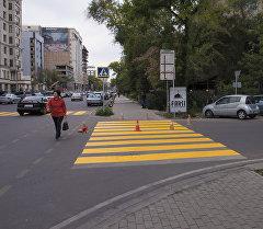 Желтая разметка пешеходного перехода на одном из улиц Бишкека. Архивное фото