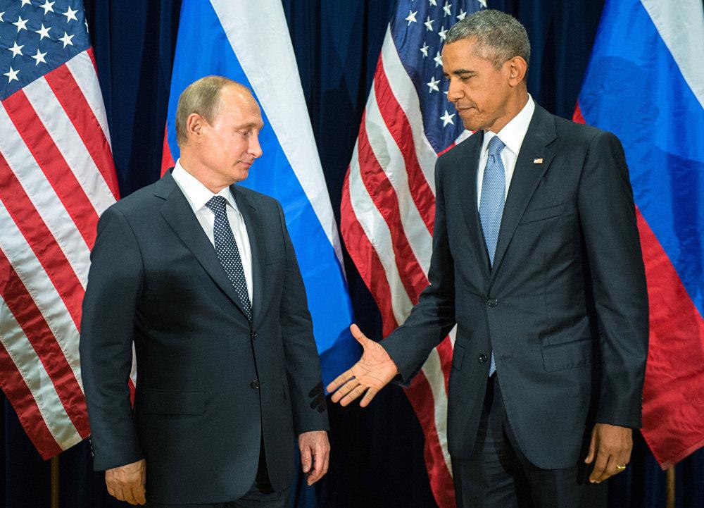 Россия менен АКШнын президенттери Владимир Путин менен Барак Обама БУУнун Башкы ассамблеясынын 70-жыйынынан кийин. Нью-Йорк, 28-сентябрь. Алардын жолугушуусу бир жарым саатка созулган